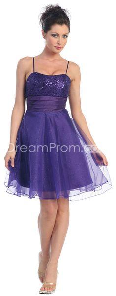 Purple Spaghetti Straps Knee-Length Sequined Prom Dresses