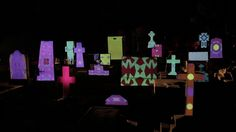 A Cartoon Light Show Performed on Tombstones in a Mexican Cemetery - Panteon de Dolores. Colorful Mapping and character animation in the cemetery, done by the guys from Llamarada