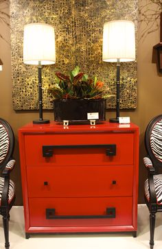 "Port 68- IHFC Interhall 310 Item # AFCS-221-01 Hancock Red Chest 36""W x 20""D x 36""H #HpMkt #stylespotters A regal chest perfect for an interesting entry especially when flanked by two chairs. paint colors, color black, highpoint"