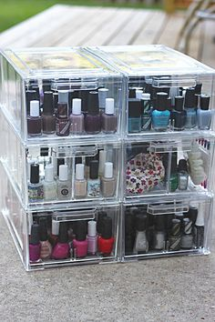Nail Polish Storage Cubes are crystal clear shoe drawers for $13.99 each holds 60 bottles each