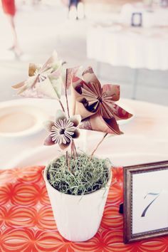 LOVE these paper flower centerpieces!