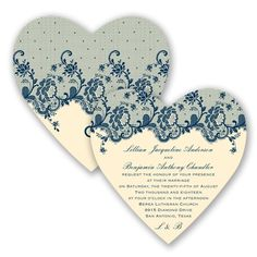 Get to the heart of the matter with this charming, die-cut heart wedding invitation! #Vintage #Lace #WeddingInvitations #DavidsBridal http://www.invitationsbydavidsbridal.com/Wedding-Invitations/Vintage-Invitations/2947-DB34873-Charming-Lace--Marine--Invitation.pro?&sSource=Pinterest&kw=Vintage_DB34873