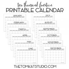 Free Printable 2014 Calendar :: by @The TomKat Studio
