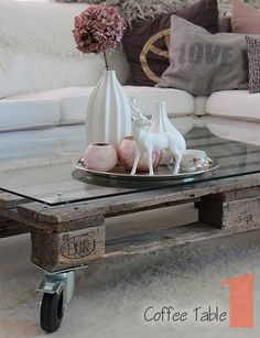 Weathered Garden Coffee Table. Made of reclaimed pallet wood.