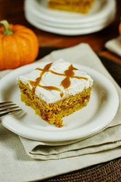 Outrageously good Caramel Pumpkin Snack Cake ~ moist and tender pumpkin cake, with a layer of ooey-gooey caramel tucked inside! www.thekitchenismyplayground.com #pumpkin #cake #caramel