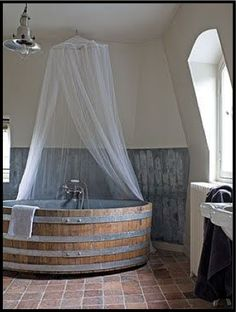 wine barrels, bathtub, bath soak, bathroom lighting, rubber duck, bathrooms, barns, log houses, farm chic