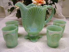 *JADITE CARNIVAL GLASS ~ 5-piece beaded SHELL pattern, handmade in the U.S.