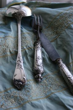 Beautiful old silver old silverware, patina, blue, cabinet, country farmhouse, vintage silver, french antiques, antique silver, bohemian