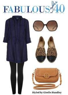 A shirtdress and leggings is a versatile and comfy choice when you work from home.