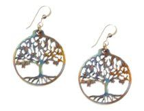 Small Tree of Life Iridescent Earrings - Cast From Disarmed Nuclear Weapon Systems