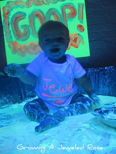 Glowing GOOP sensory play- fun for babies and toddlers.  Have your children played with GOOP yet?