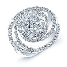 Themis Ring 14K White Gold 2.15 Carat Total Weight and Features Coronet Solitaire Patented Setting. [Promotional Pin]