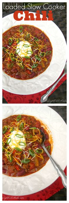 Loaded with onions, peppers, beans and more, this chili is the perfect dinner any night of the week!
