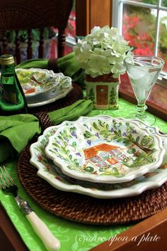 A Table for Two with green cottage plates.