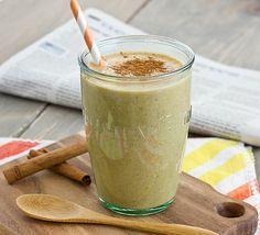 Pumpkin Spice Breakfast Shake [with spoon] almond milk, shake recipes, pumpkin puree recipes, pumpkin spice shake, spice breakfast, pumpkin breakfast, breakfast shakes, maple syrup, pumpkin pies
