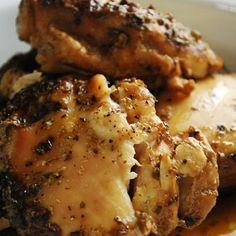 Crock Pot Beer Chicken - 2lbs skinless, boneless chicken breasts 1 bottle or can of your favorite beer 1 tsp salt 1 tsp garlic powder 1 tbsp dried oregano 1/2 tsp black pepper Crock Pot 6-7hrs.