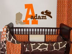 Cowboy Western Name Initial Kids Vinyl Wall Decal Sticker. $28.50, via Etsy.