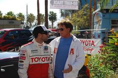 Brody Jenner and his dad talk race strategy at the 2012 Toyota Pro/Celebrity Race in Long Beach. #TPCR