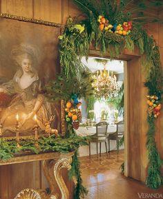 peacock feathers, interior, warm colors, christma decor, winter wonderland, mari mcdonald, veranda, holiday decorating, christmas garlands