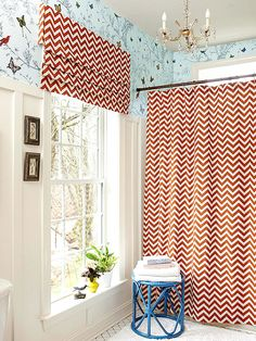 Cute chevron curtains in this bathroom