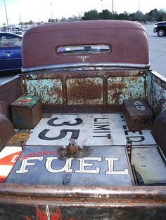 Rat Rod truck bed... Make Floors In A Rust Belt 57 Chevy out of old signs. Rob could use signs from the farm, there is a Dr Pepper one that would be awesome. bed covers, chevy trucks, car accessories, rat rods, beds, rod truck, sport cars, old trucks, ratrod