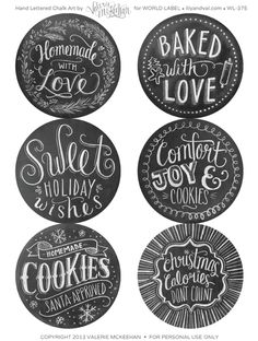 Free Printable Hand Drawn Holiday Food Gift Chalkboard labels designed by @Valerie Avlo (Henderson) McKeehan Labels are first hand drawn and then photographed.
