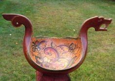 Rare antique quot norwegian wooden hand carved viking boat quot bowl kovsh