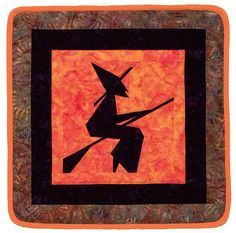 """""""Witch"""" way to a quick Halloween quilt? This way! Download this fun paper-pieced quilt pattern by Maaike Bakker for free when you sign in or register at our site."""