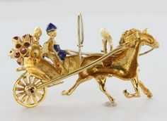 Vintage 18K Yellow Gold Pearl Ruby Horse Carriage Brooch Pendant Jewelry Fine | eBay