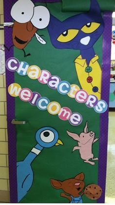 "Library door or bulletin board: ""Characters Welcome"" SO FUN!"