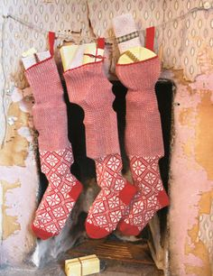 knitted christmas stockings - toast