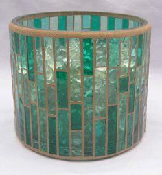 Green mosaic vase