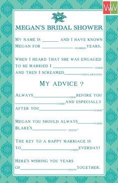 Bridal Shower Mad Lib Cards