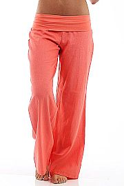 Fold Over Linen Pants, coral