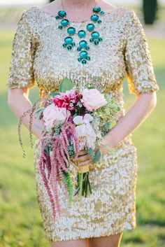 rose and amaranthus bouquet, photo by Lisa Mallory Photography http://ruffledblog.com/glam-new-years-inspiration #weddingbouquet #flowers
