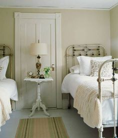White bedspread with cream throw