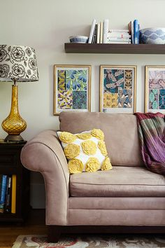 Design Sponge decor, pillow, living rooms, floating shelves, couch, frame, pattern, color, lamp