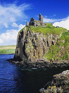 Duntulm castle on the isle of Skye in Scotland