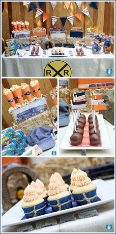 food displays, dessert tables, food tables, birthday parties, train party