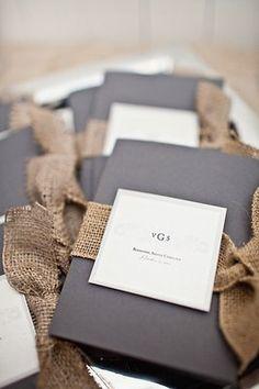 Dark grey with burlap fabric | wedding ceremonies, charcoal, wedding programs, wedding invitations, grey weddings, southern weddings, black white, burlap bows, ceremony programs