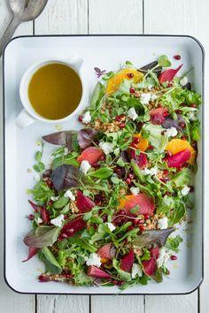 Spring Greens, Farro, Beet and Citrus Salad.