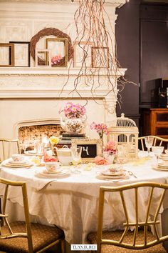 Rustic tea party. Rentals and styling by Chicago Vintage Weddings, photography by Tuan Bui.