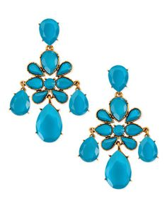 Faceted Chandelier Clip-On Earrings, Turquoise by Oscar de la Renta at Bergdorf Goodman.