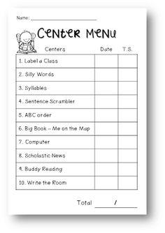 Week 1 Visual Plans! Free editable Center menu template and center ideas
