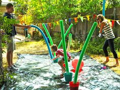 Wipeout themed birthday party, so fun! The parents get to whack the kids with pool noodles to get them off balance, hilarious!