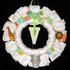 A diaper wreath.  How cute!