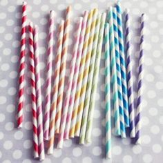 Rainbow striped straws