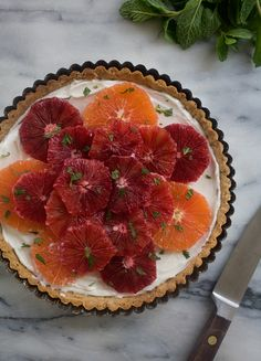 citrus honeyed-yogurt hazelnut tart