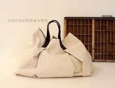 CANVAS WEEKENDER BAGNatural with dark brown leather by cocosheaven, $99.00