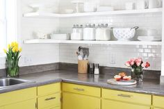 A cheerful kitchen with not-so-mellow yellow cabinets.